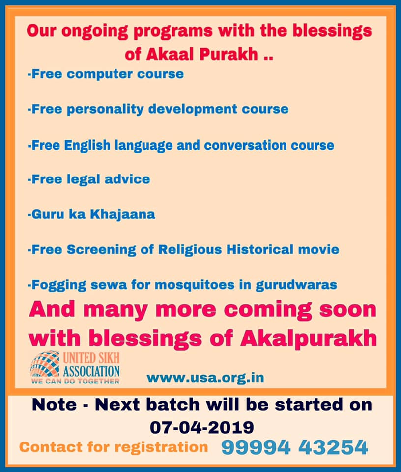 Ongoing programme with the blessings of Akaal Pramukh
